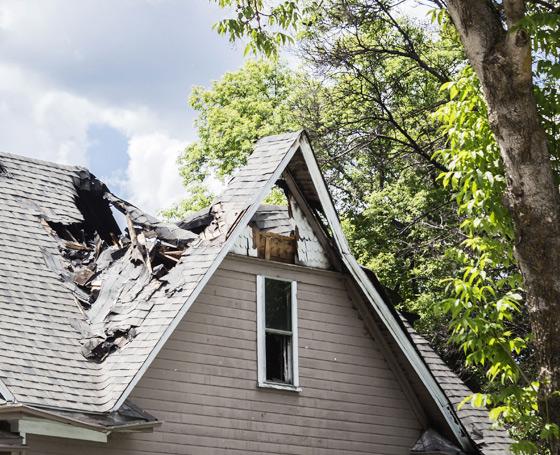 Service de restauration après sinistre - dommage à la toiture